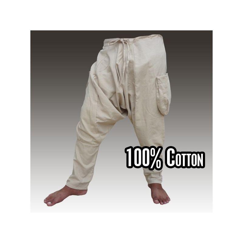 Harem pants - cotton - khaki