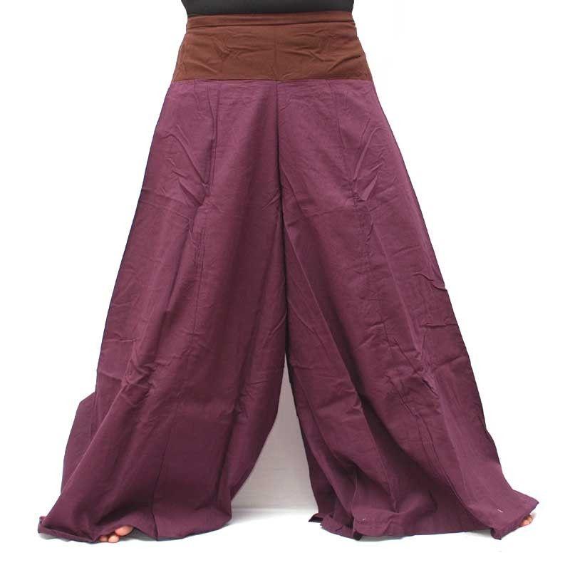 Samurai pantalones de algodón de color magenta