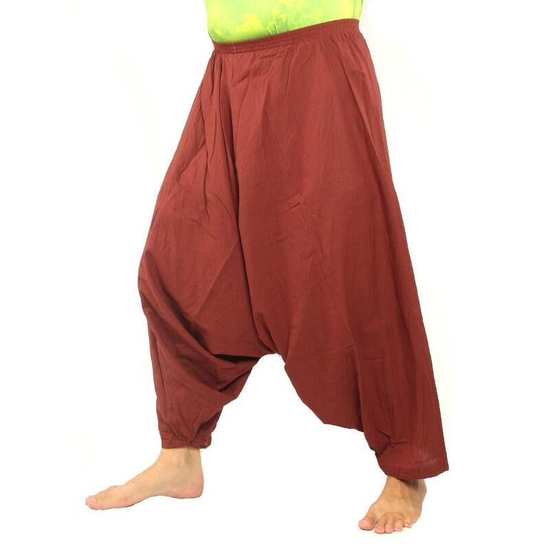 Aladdin pants cotton reddish brown