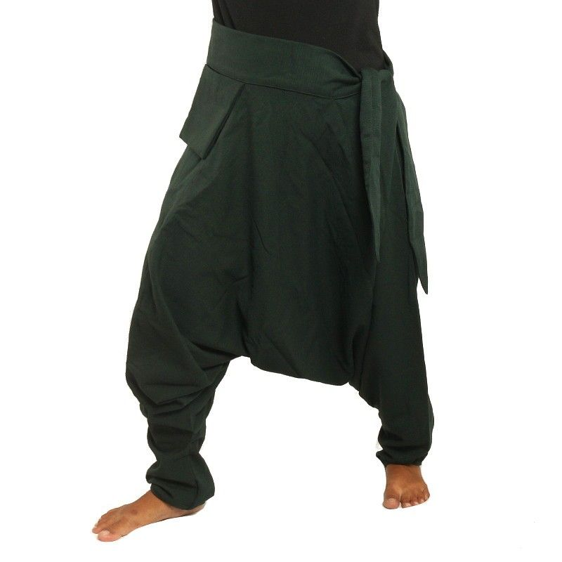 Aladdin Pants - with small side pocket to the side dark green