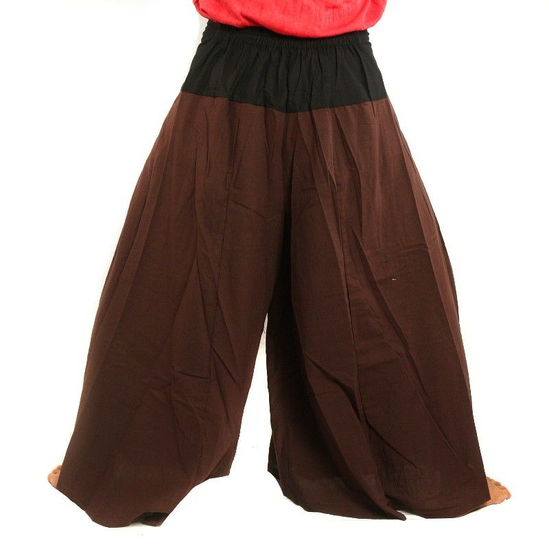 Samurai pantalones de algodón marrón, negro