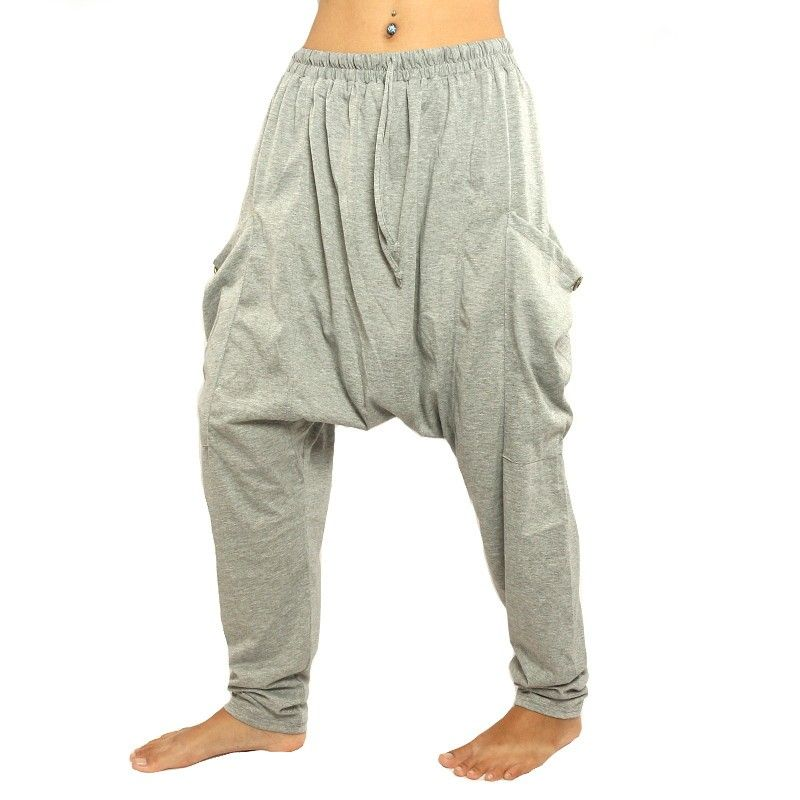 Harem pants gray with side pockets stretch cotton