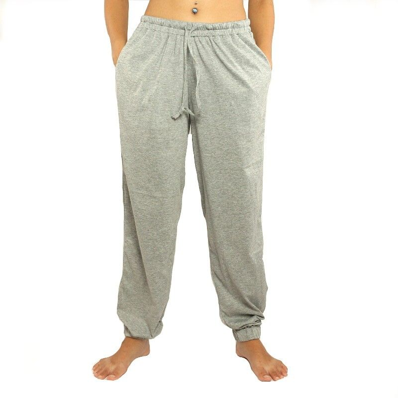 Gray trousers with side pockets stretch cotton