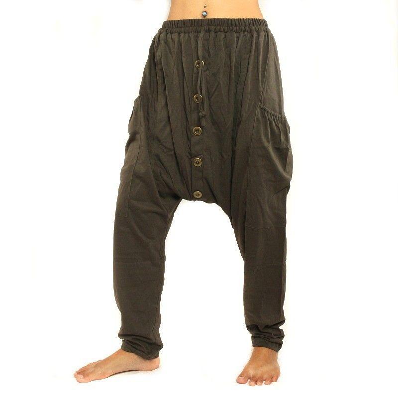pantalones harén marrón oscuro con bolsillos laterales de algodón elástico
