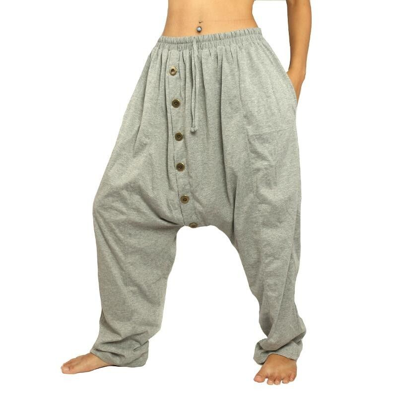Harem pants gray stretch cotton