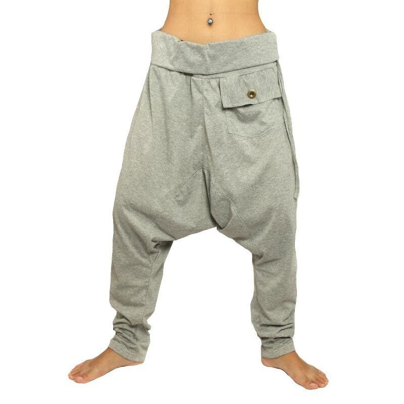 Harem pants gray elastic cotton
