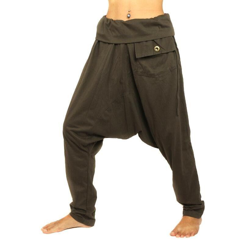 Harem pants dark brown with side pocket elastic cotton