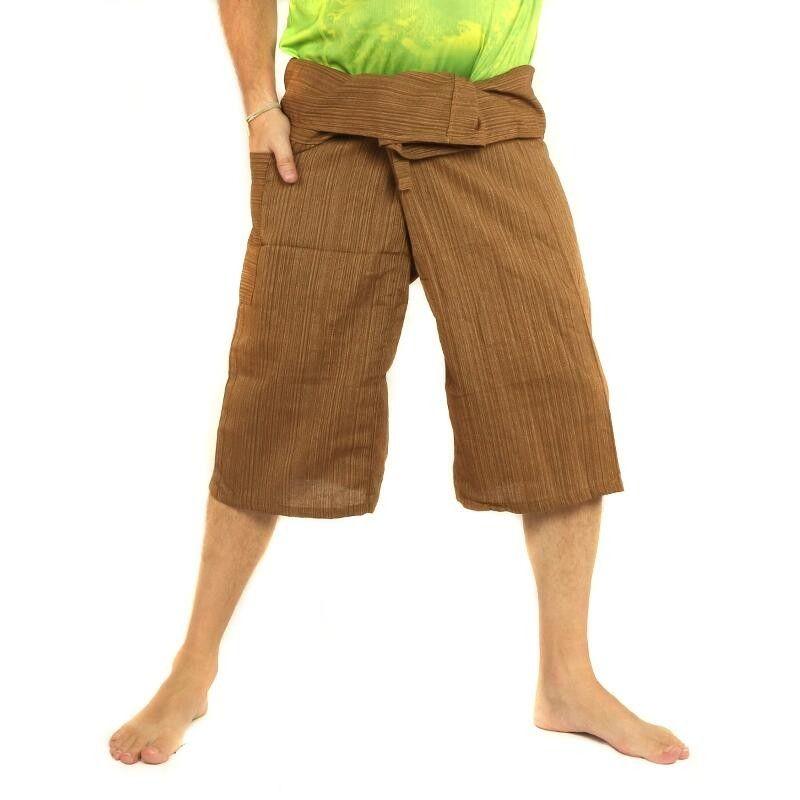 3/5 Thai Style Fisherman Hose - Khaki - Baumwolle
