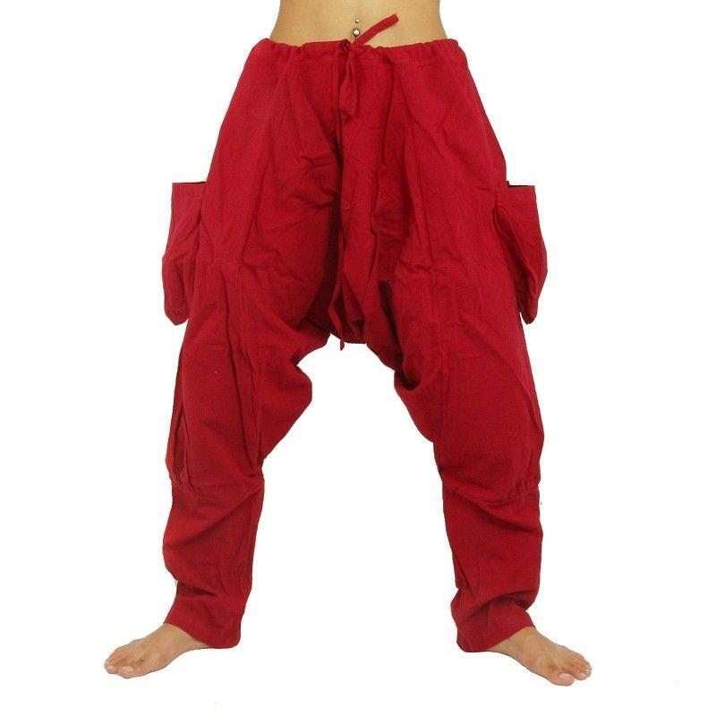 Harem pants - cotton - red