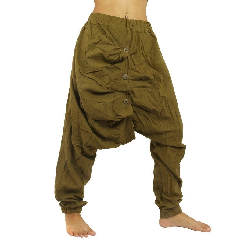 Baggy Pants - green with decorative buttons
