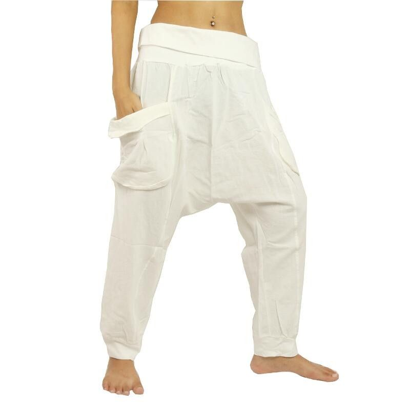 Harem pants - cotton - white with large side pockets
