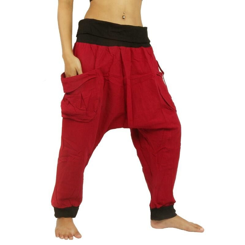 Harem pants - cotton - red with large side pockets