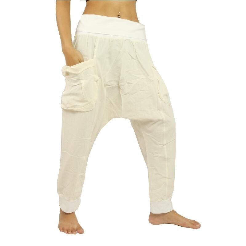 Harem pants cotton - white with large side pockets