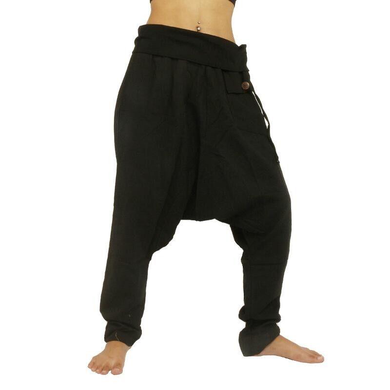 Aladdin Pants Harem Pants - Cotton Large Side Pocket - Black