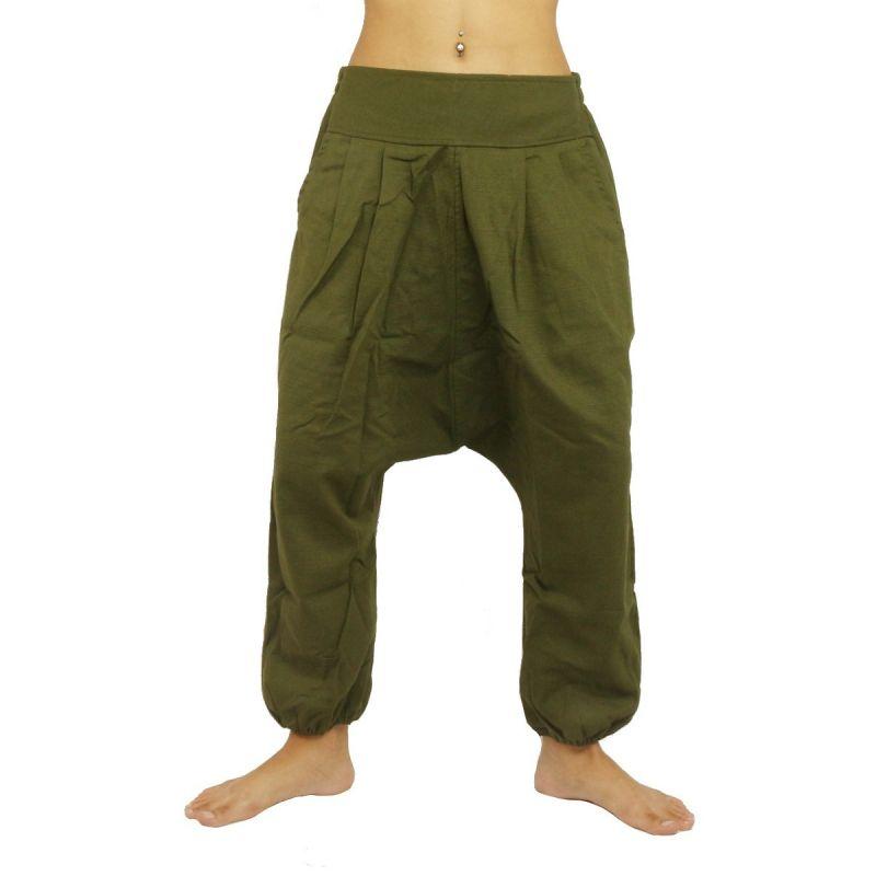 Harem pants - cotton - green