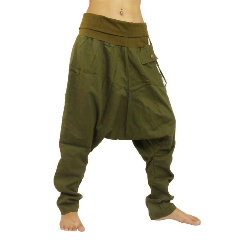 Aladdin Pants Harem Pants - Cotton Large Side Pocket - Green