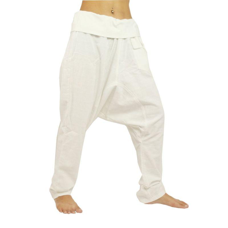 Aladdin Pants Harem Pants - Cotton Large Side Pocket - White
