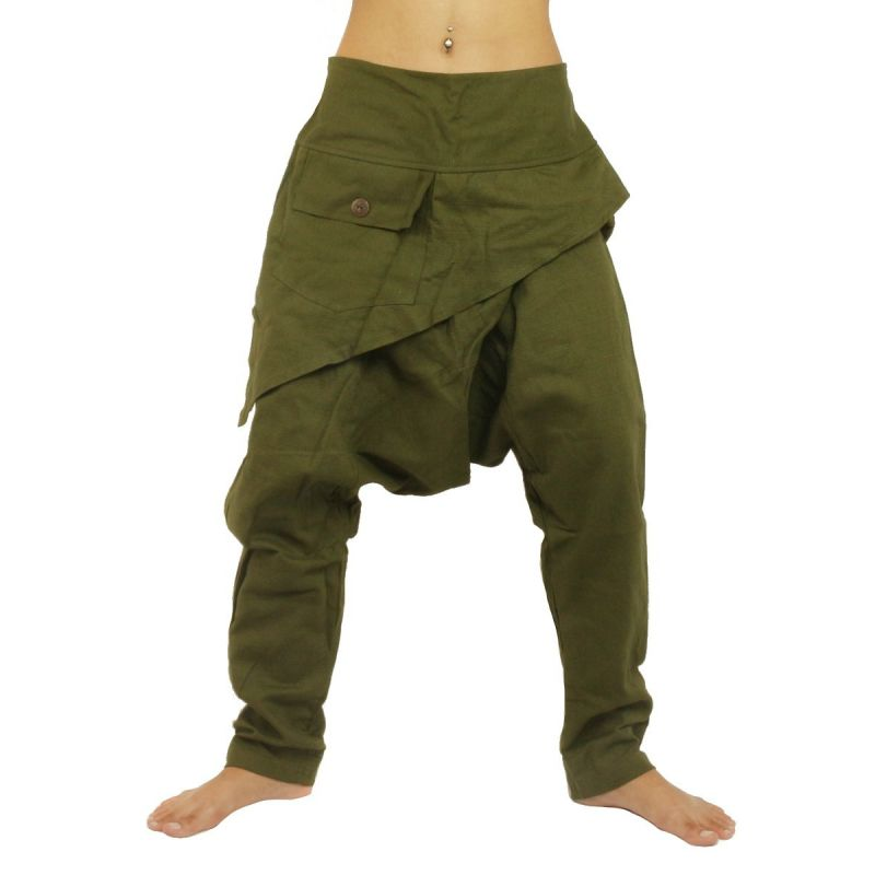 Harem pants - with triangular pocket cotton - green