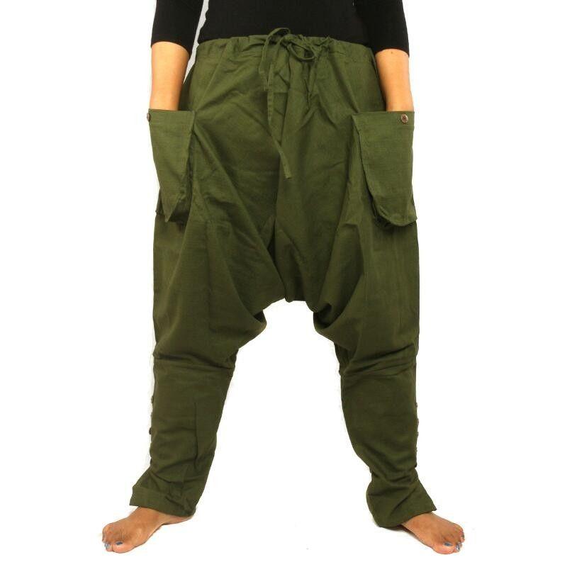 Harem pants - cotton - dark green
