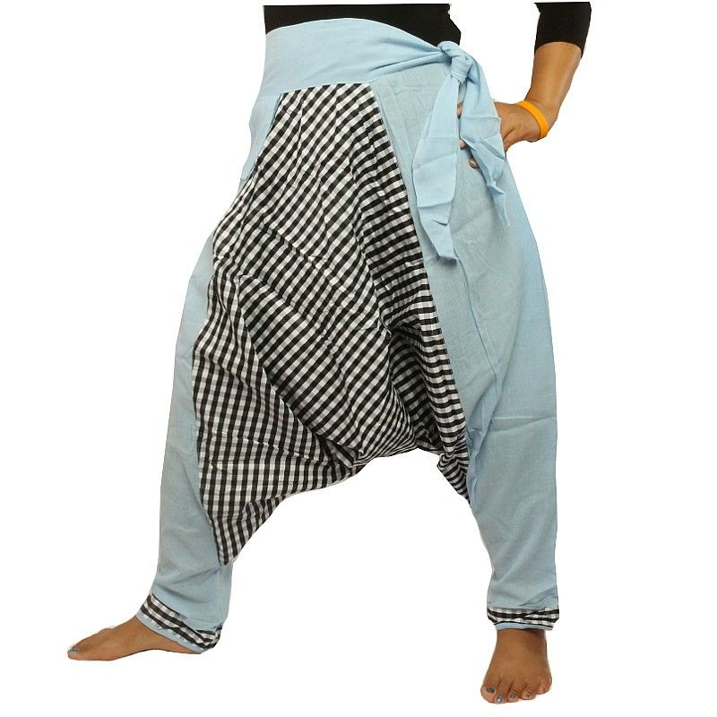 Aladdin pants - with small side pocket to tie blue