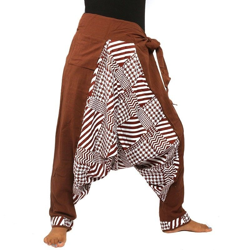 Aladdin pants - with small side pocket to tie brown