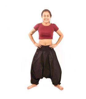 Thai aladdin pants black cotton with side pocket
