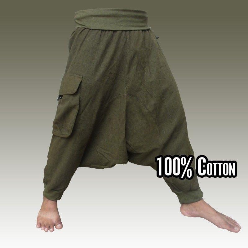 3/5 Aladdin Pants - Pisett olive green with large side pocket