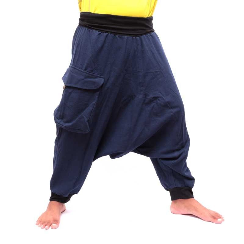 3/5 Aladdin Pants - blue with large side pocket