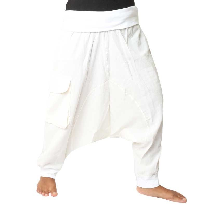 3/5 Aladdin Pants - white with fabric appliqué and bag