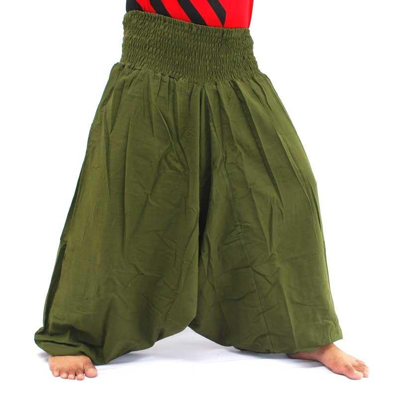 Aladdin Pants Yoga Cotton olive green